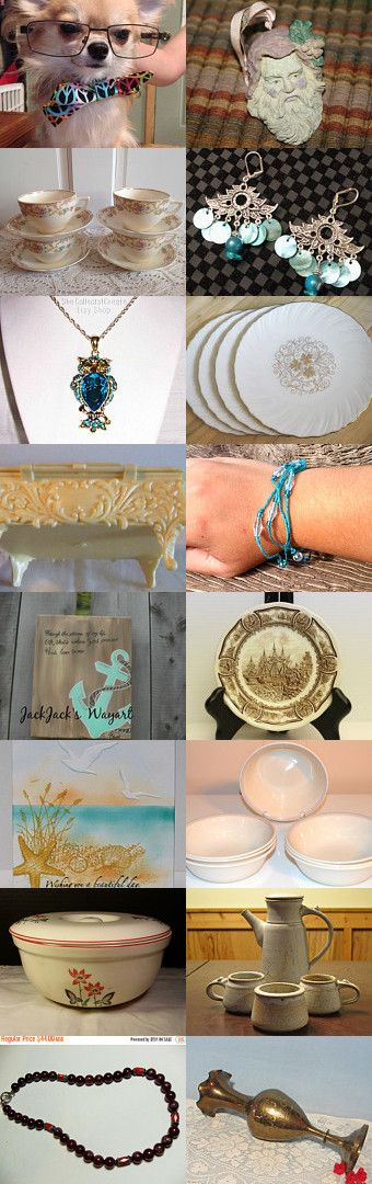 Natural with a splash of teal @ PPT 1-16  by Brenda L. Marsh on Etsy--Pinned with TreasuryPin.com