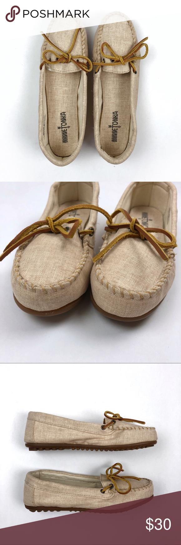 Minnetonka Beige Canvas Leather Tie Moccasins Left Shoe Minnetonka Shoes Canvas Leather