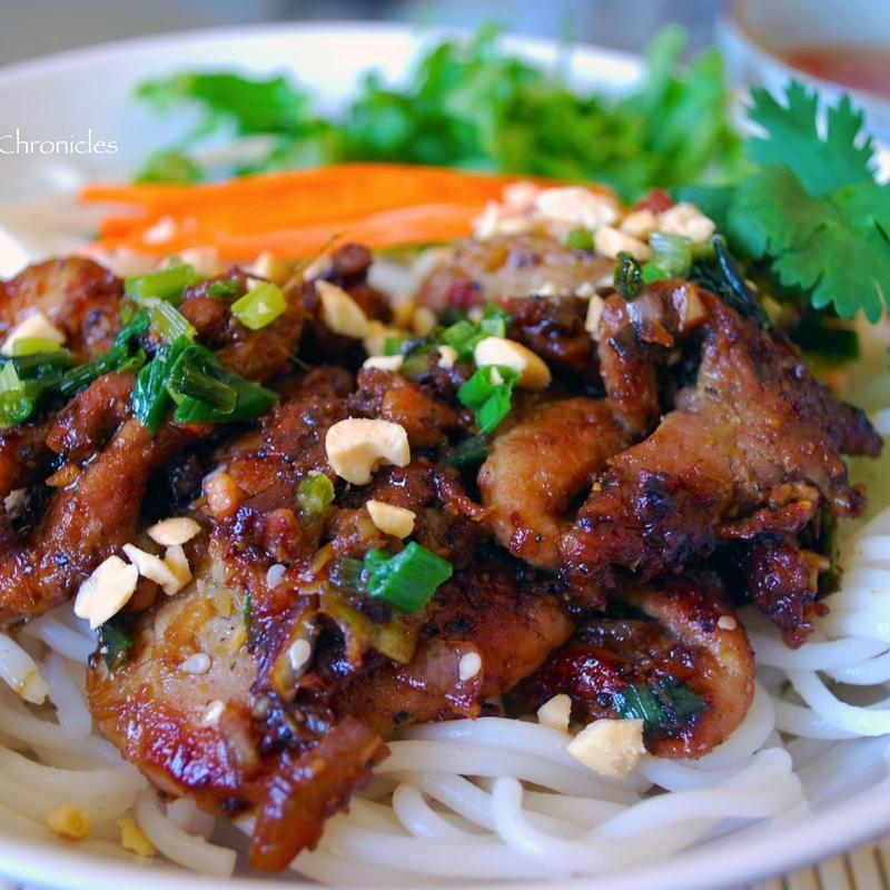 Vietnamese B B Q Pork Over Rice Noodle Loi S Vietnamese Restaurant Zmenu The Most Comprehensive Me Vietnamese Grilled Pork Vermicelli Noodles Grilled Pork