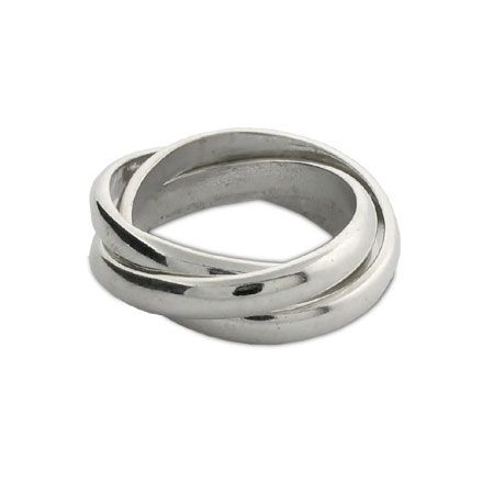 Tiffany Style Sterling Silver Triple Roll Russian Wedding Ring SALE