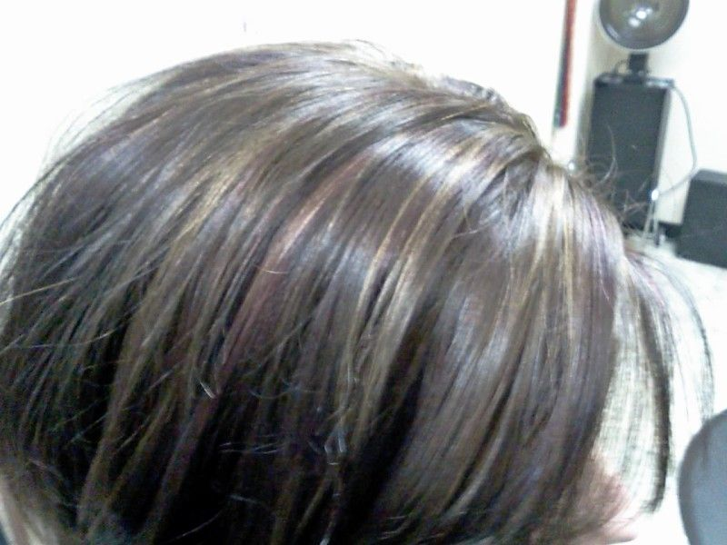 All Over Chocolate Color With Soft Red And Blonde Highlights