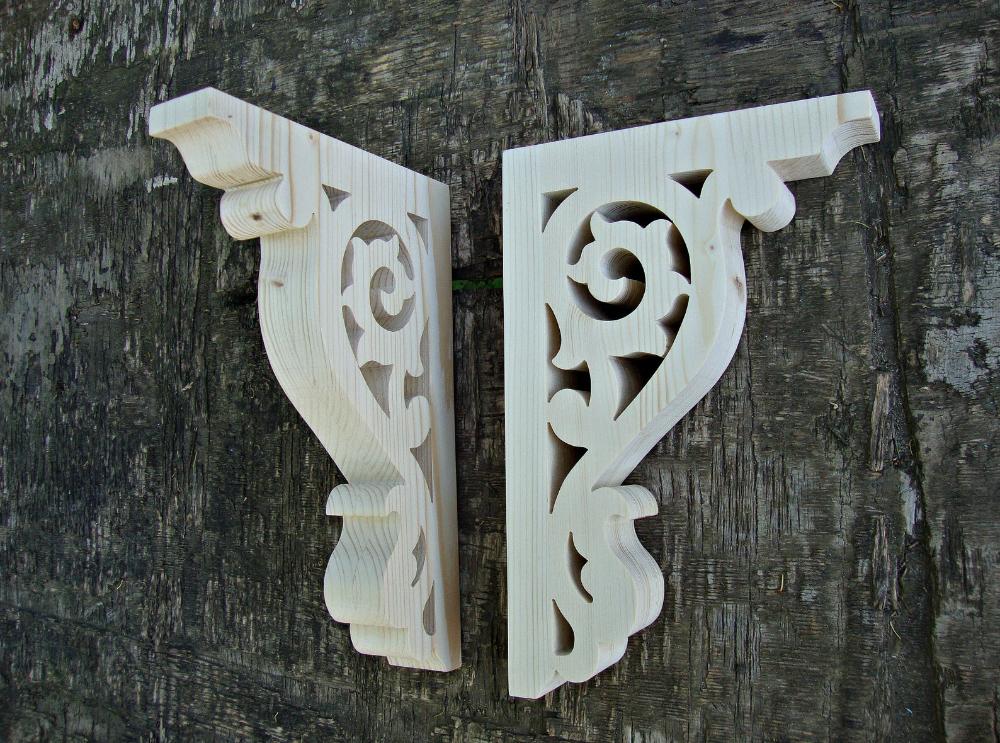 Wood Screen Door Brackets Victorian Set of 2 by Victorian Wood Corbels