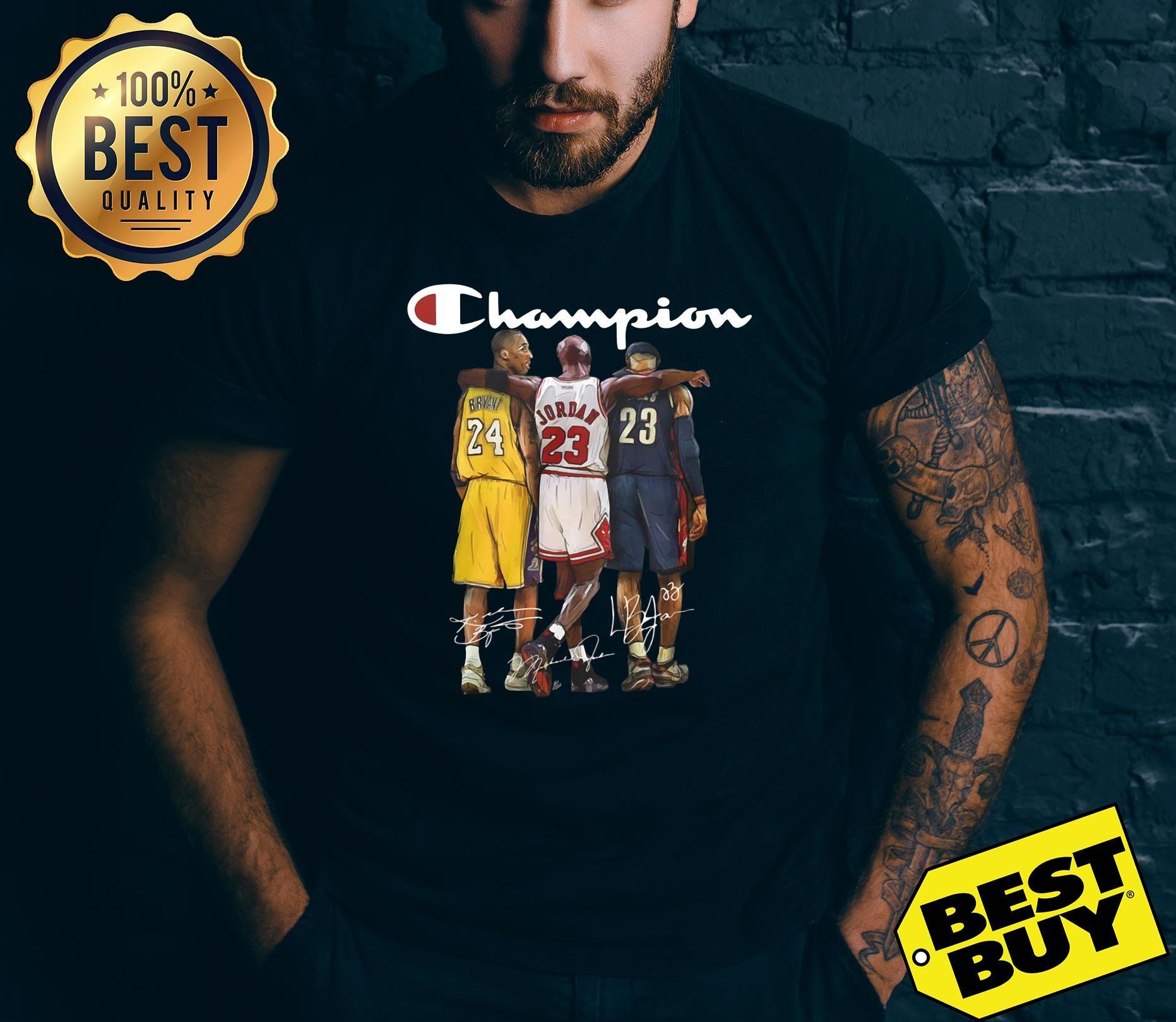 31a8d6cd Kobe Bryant Michael Jordan LeBron James champion shirt, ladies tee ...