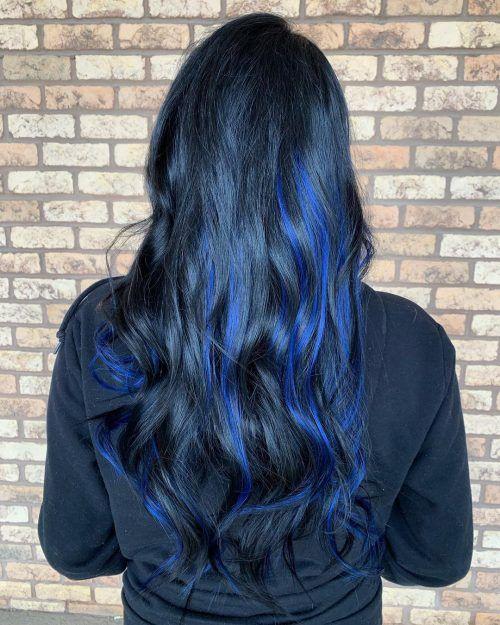34 Sweetest Caramel Highlights On Light Dark Brown Hair Blue Hair Highlights Blue Black Hair Hair Color For Black Hair