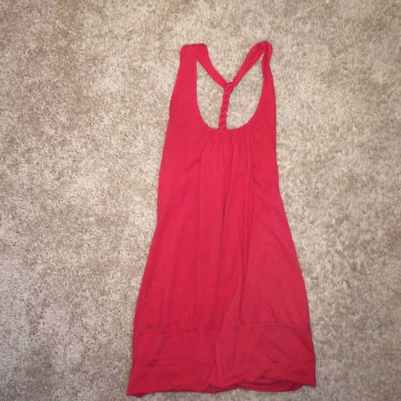 Red top Long red top, looks great with jeans or leggings Tops Tank Tops