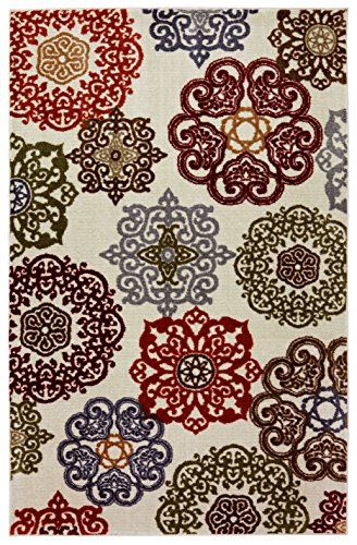 Stainmaster Colorful Lace Medallions Area Rug 8 Feet By 10 Multicolored