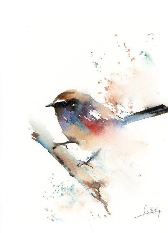 Rainbow Bird Painting Wren Bird Original Watercolor Painting