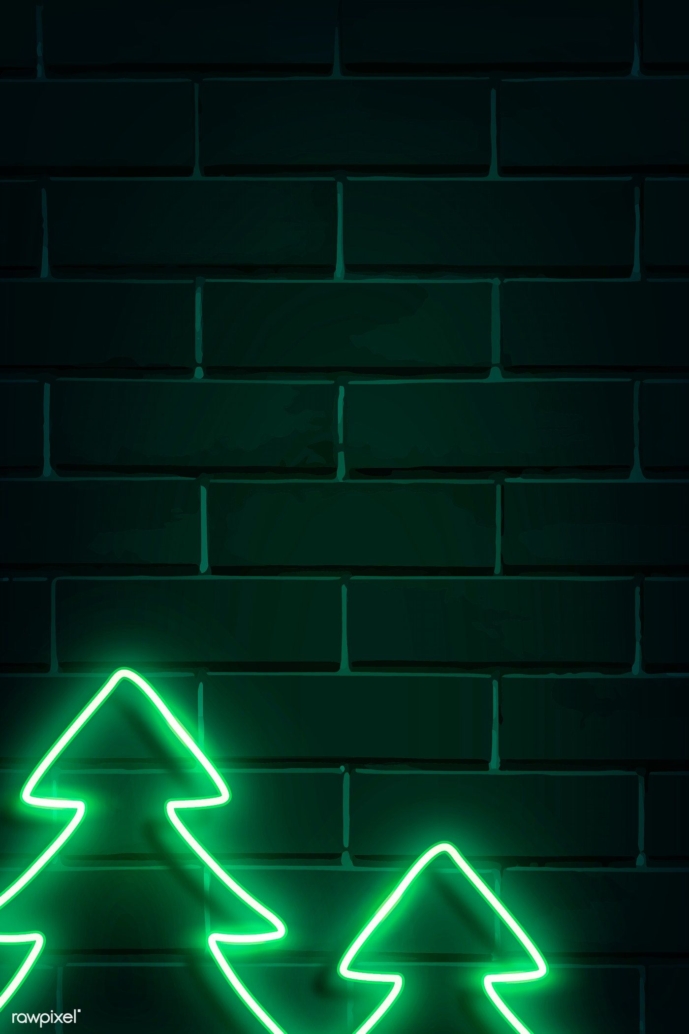 Download Premium Vector Of Christmas Trees Neon Sign On A Dark Brick Wall Christmas Tree Images Neon Signs Neon