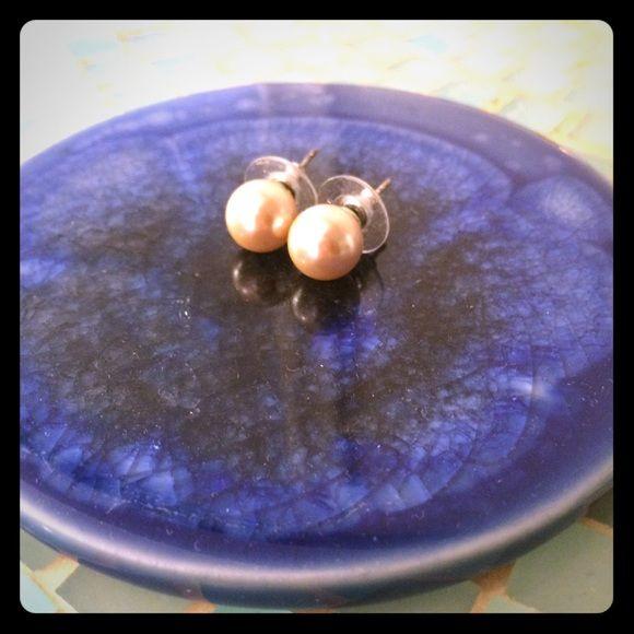 Faux pink pearl earrings Light pink faux pearl earrings. 3/8 inch diameter. Jewelry Earrings