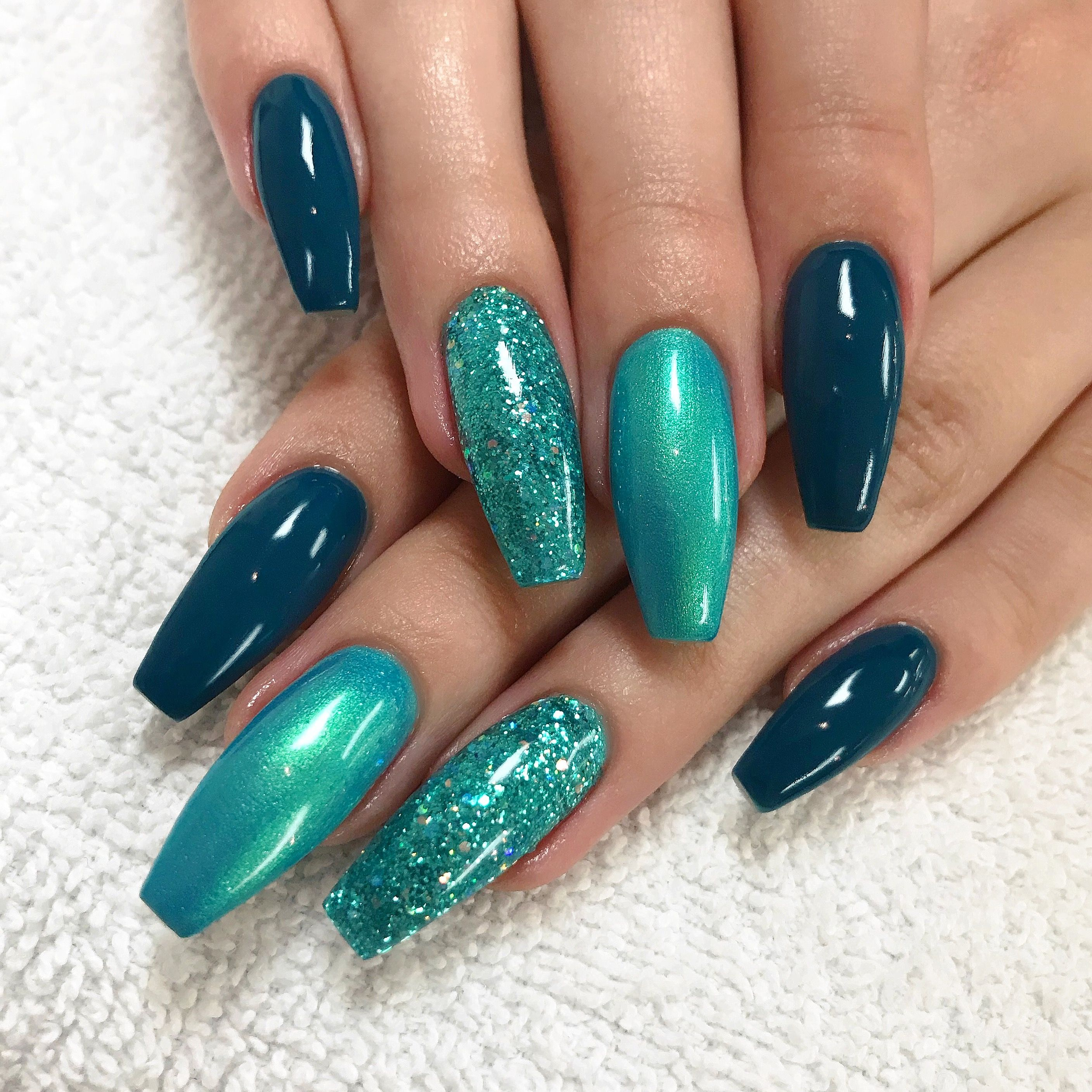 turquoise glitter nails nail beauty