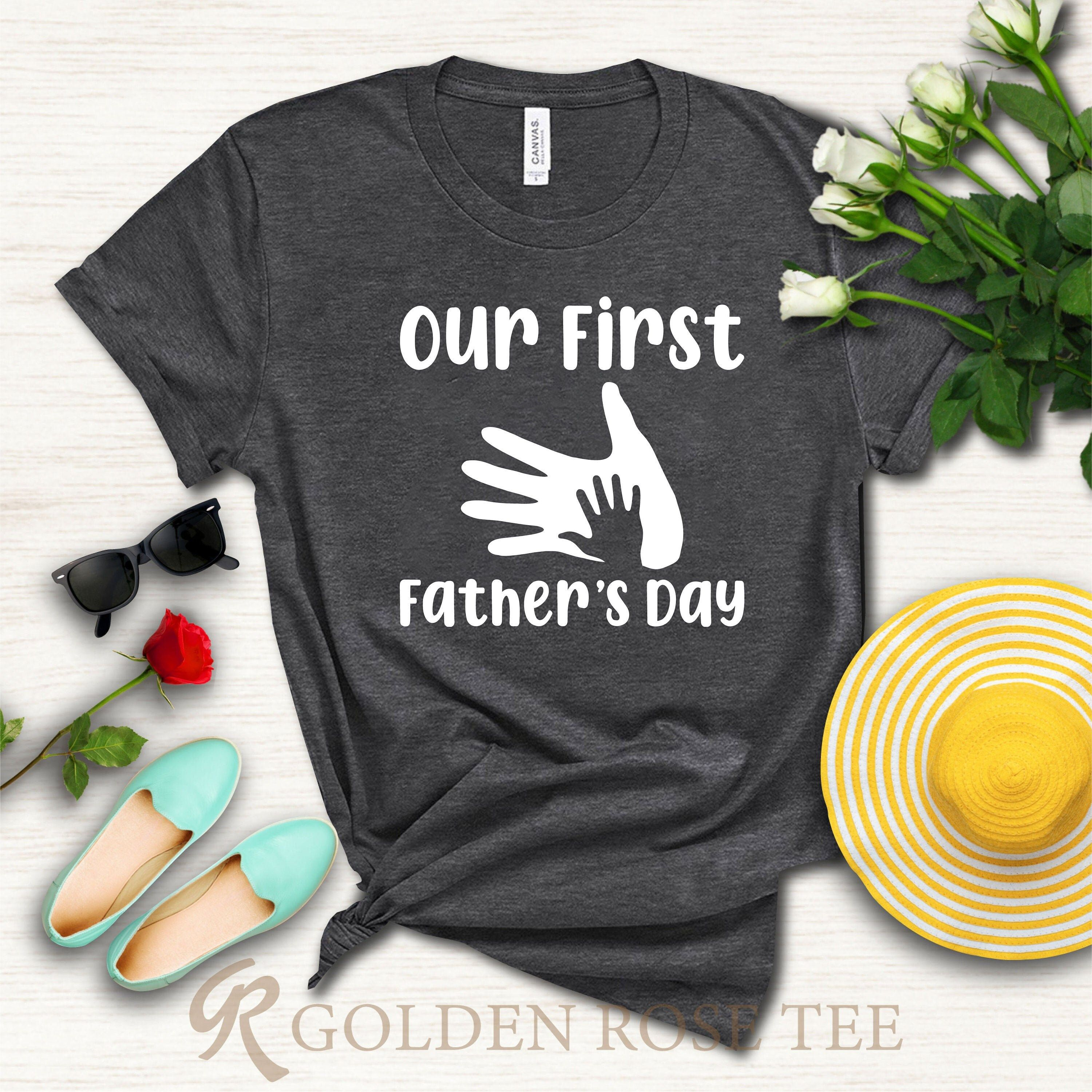 """""""Our First Fathers Day Shirt, Funny Dad Shirt, Dad Shirt, Dad Gift, Fathers Day Shirt, Shirt For Father, My First Father Day Shirt, Dad shirt When ordering in the baby category, please specify which ones you choose 3-6, 6-12, 12-18 or 18-24 Month. ---How To Order --- 1-) Please, check and review all photos 2-) Choose your t-shirt size and color *Different styles of shirts may have different shades of same color choice due to different manufacturer brands. *For this reason, we recommend you to ma"""