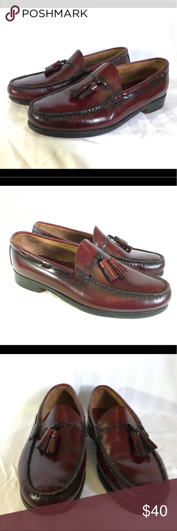 Bass Weejuns Mens Size 9.5 U.S. Burgundy Slip On Bass
