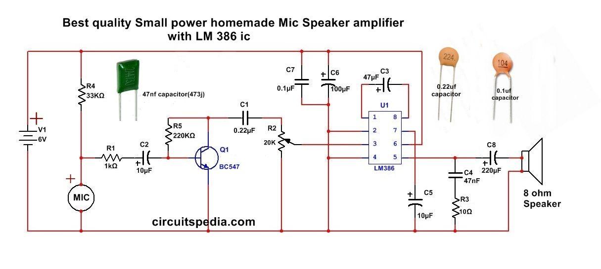 Simple Microphone Speaker Amplifier Circuit Speaker Amplifier Amplifier Circuit
