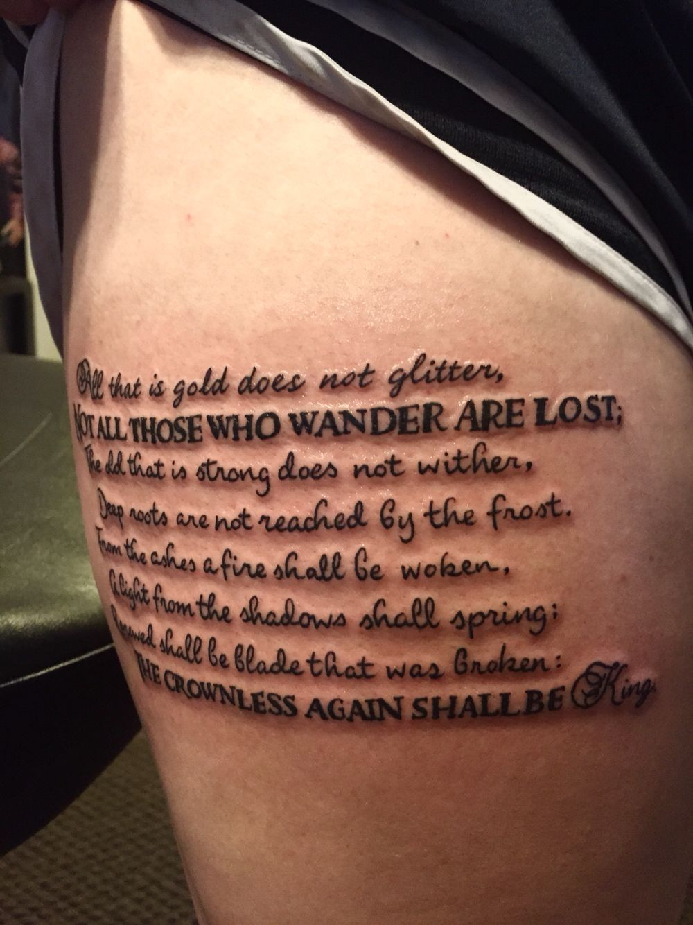 All That Is Gold Does Not Glitter Lord Of The Rings Tattoo