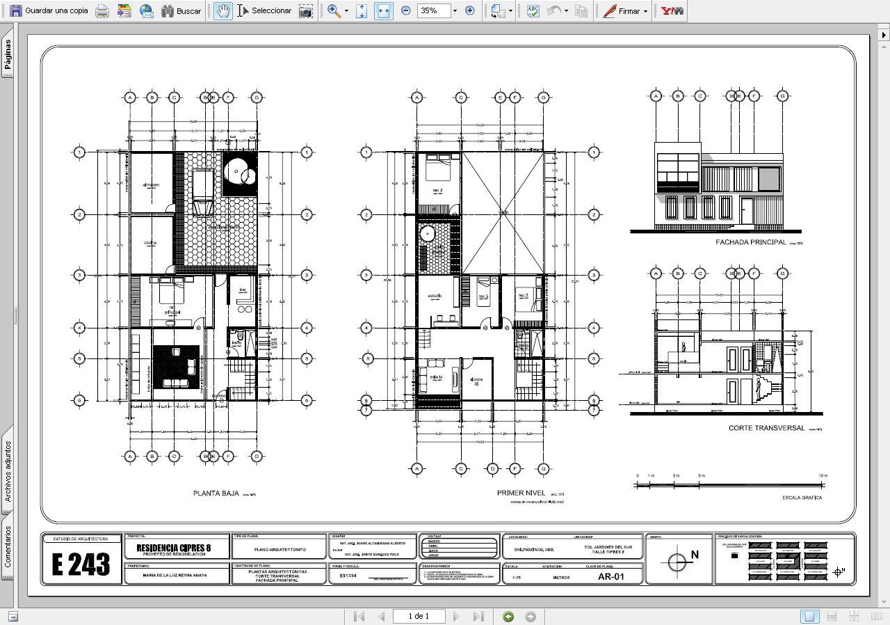 Planos De Una Casa En Autocad Casa Cipres