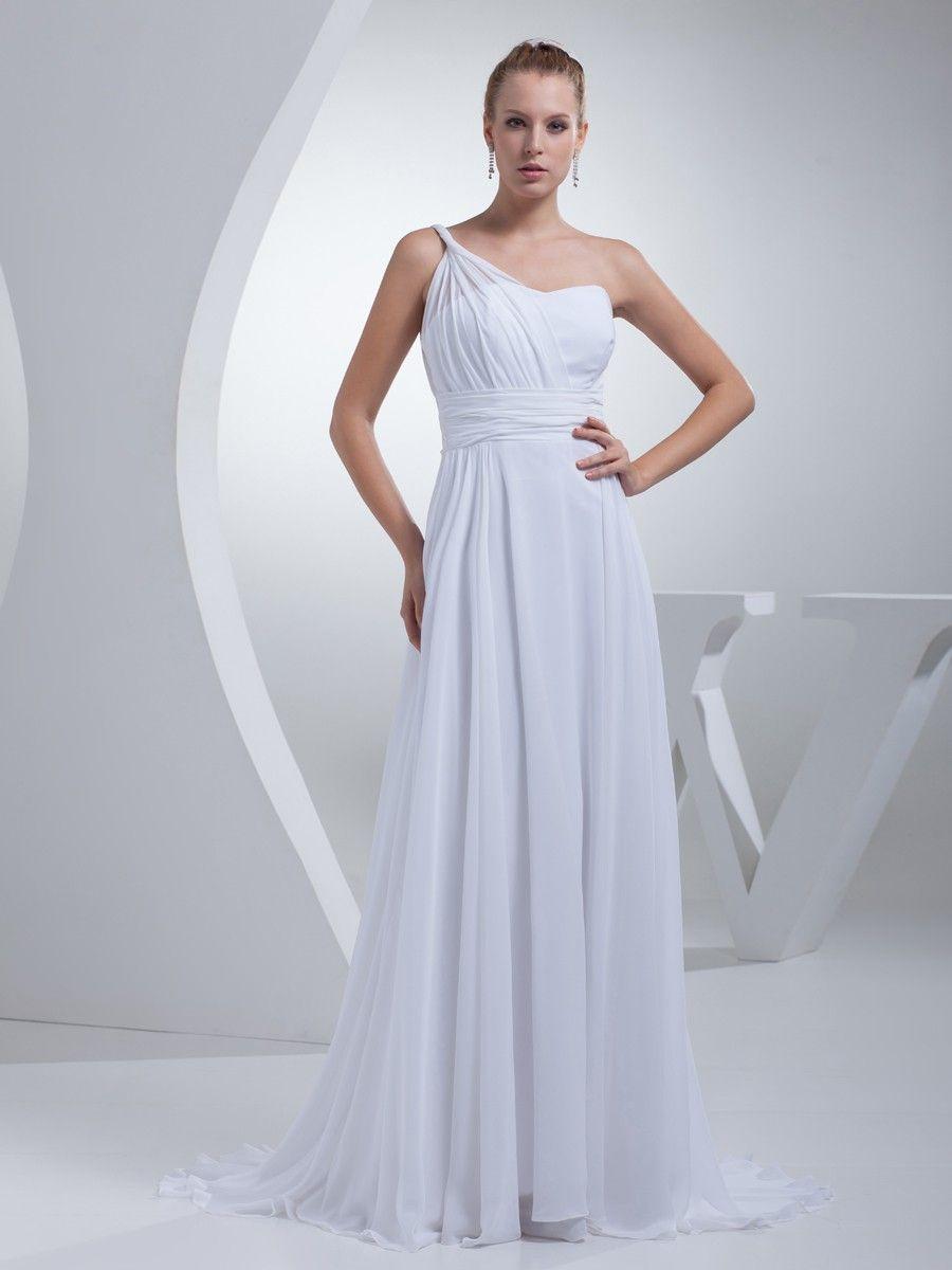 A line chiffon wedding dress  Chiffon One Shoulder Ruching Aline Beach Wedding Dress at nextdress