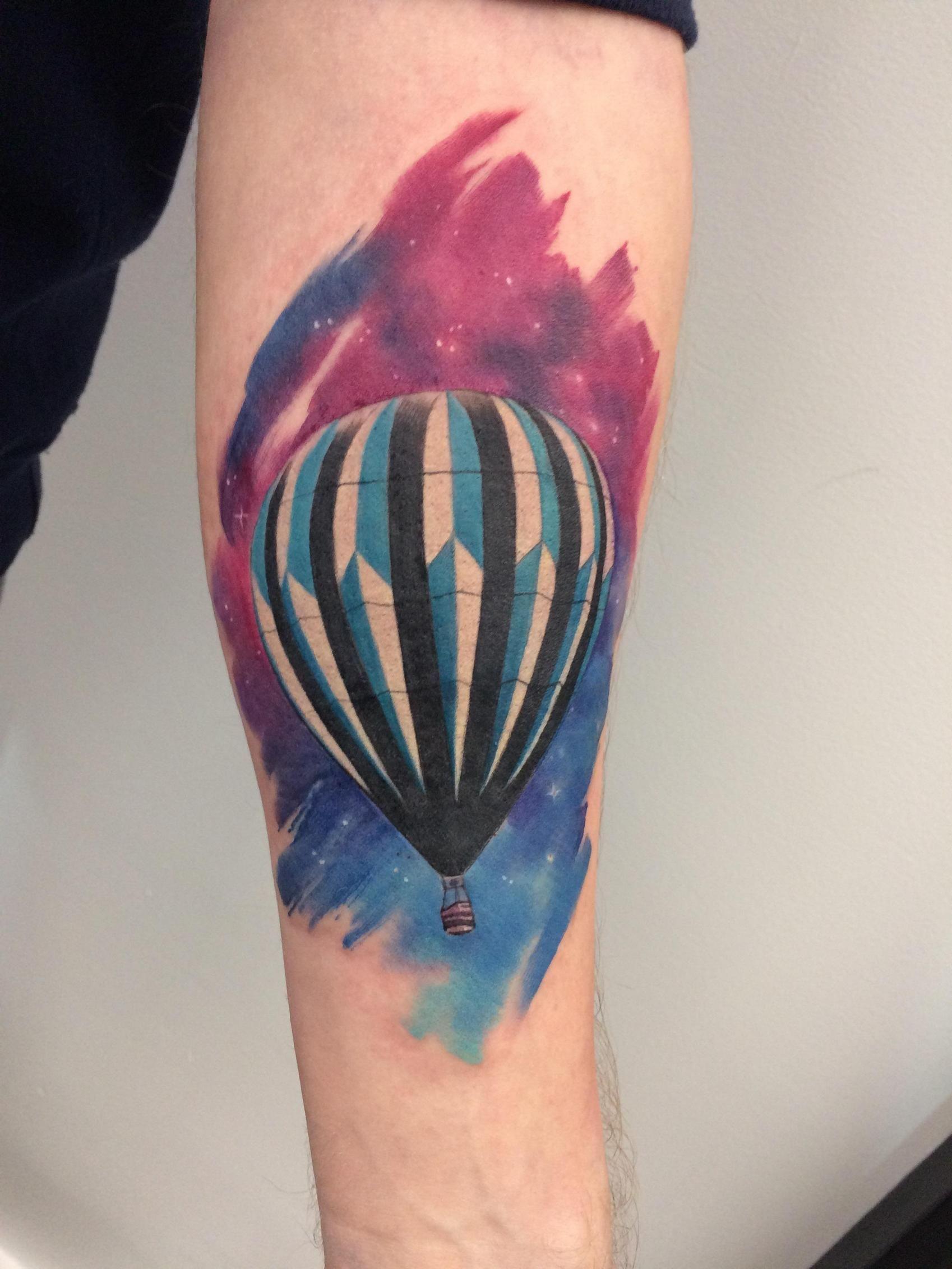 25 Amazing Watercolor Tattoos Air Balloon Tattoo Balloon Tattoo