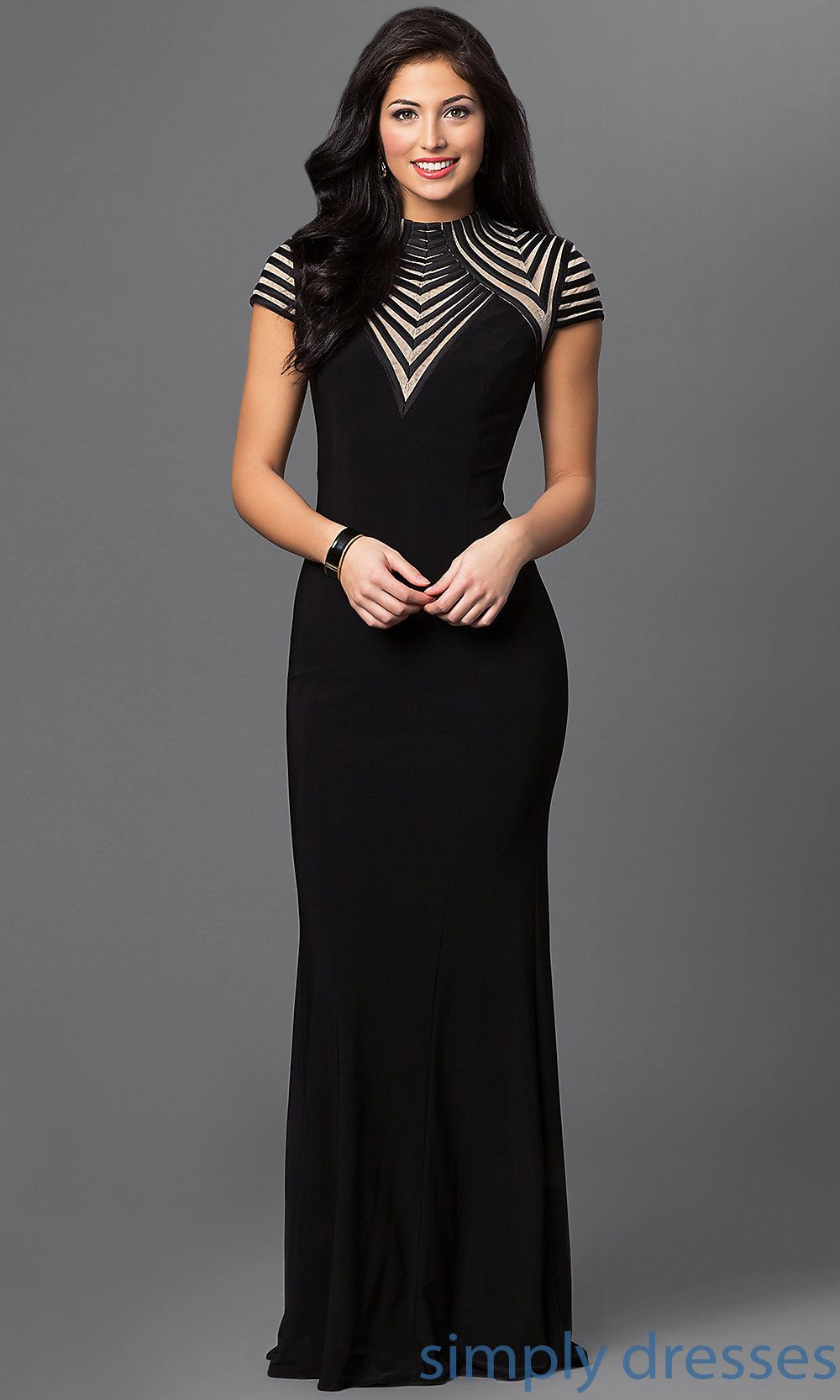 Shop nude and black prom dresses and long ball gowns at Simply Dresses. Floor-length wedding-guest dresses with cap sleeves and high necks.