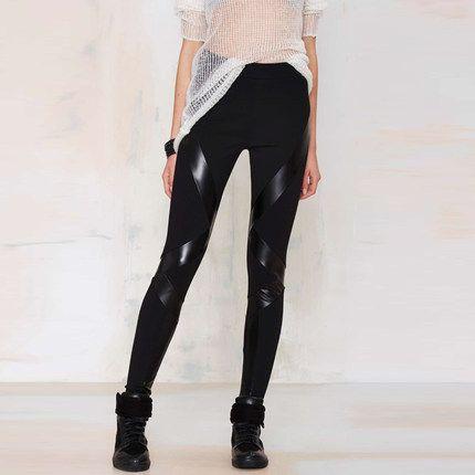 2016 Summer Patchwork Pu Leather Legging Black