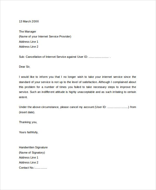 Broadband Connection Cancellation Letter Format Internet Service
