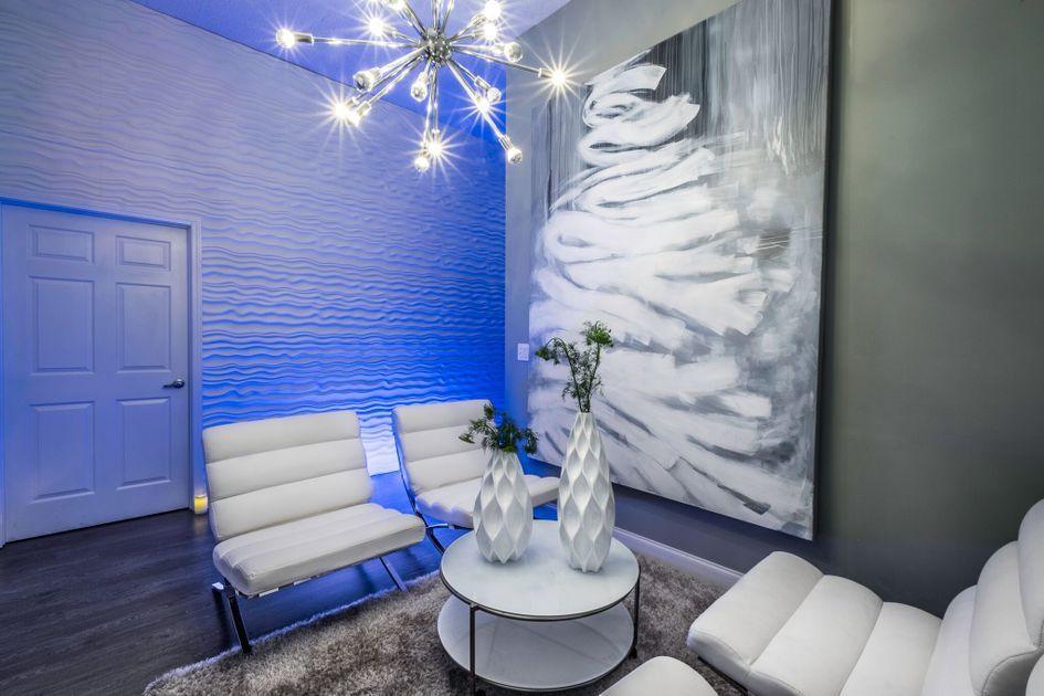 Water ripple texture walls, futuristic LED lighting and a