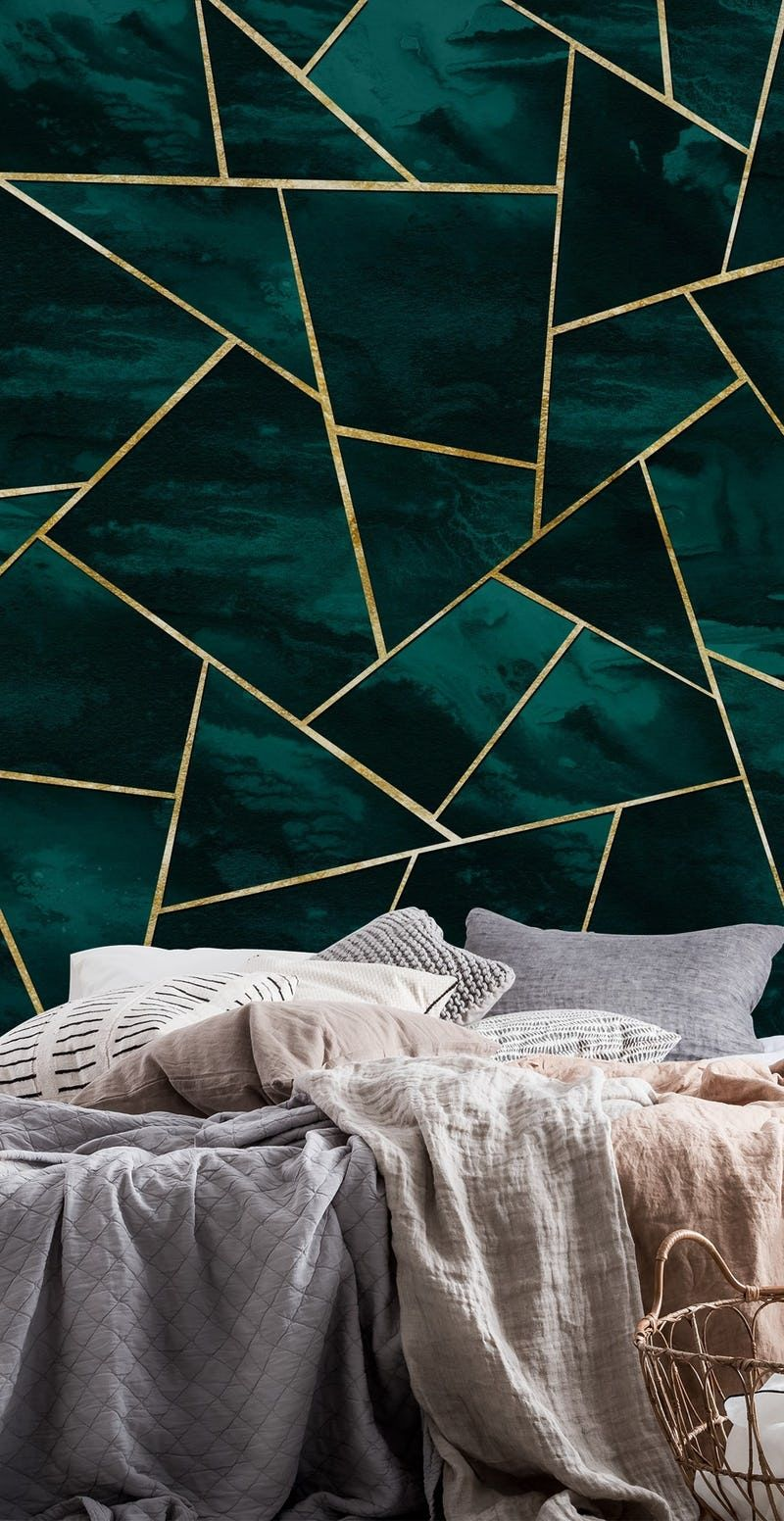 Dark Teal Ink Gold Geometric 1 Wallpaper From Happywall Com Blue And Gold Bedroom Teal Bedroom Decor Teal Rooms