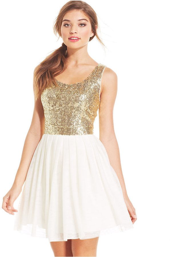 B Darlin Juniors\' Sequin Pleated A-Line Dress   Clothing Store ...