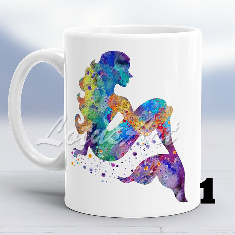 Mermaid Mug Little Mermaid Watercolor Mug Custom Coffee Mug