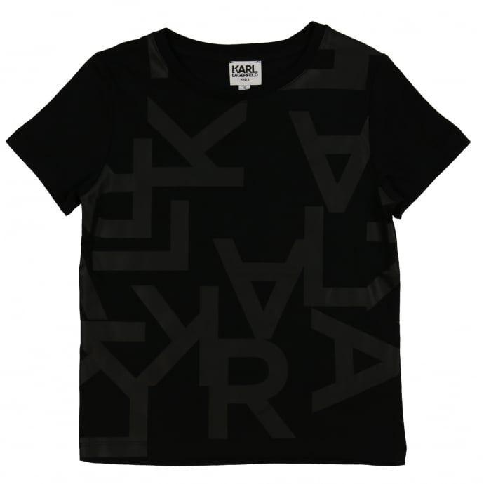 72bc85d5d5b54 Karl Lagerfeld Boys Black T-Shirt with Branded Lettering | Karl ...