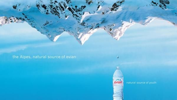 REVERSE MOUNTAIN - Evian Print Ad | evian | Print ads, Ads ...