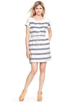 c28726f62b1 Wide-stripe linen T-shirt dress