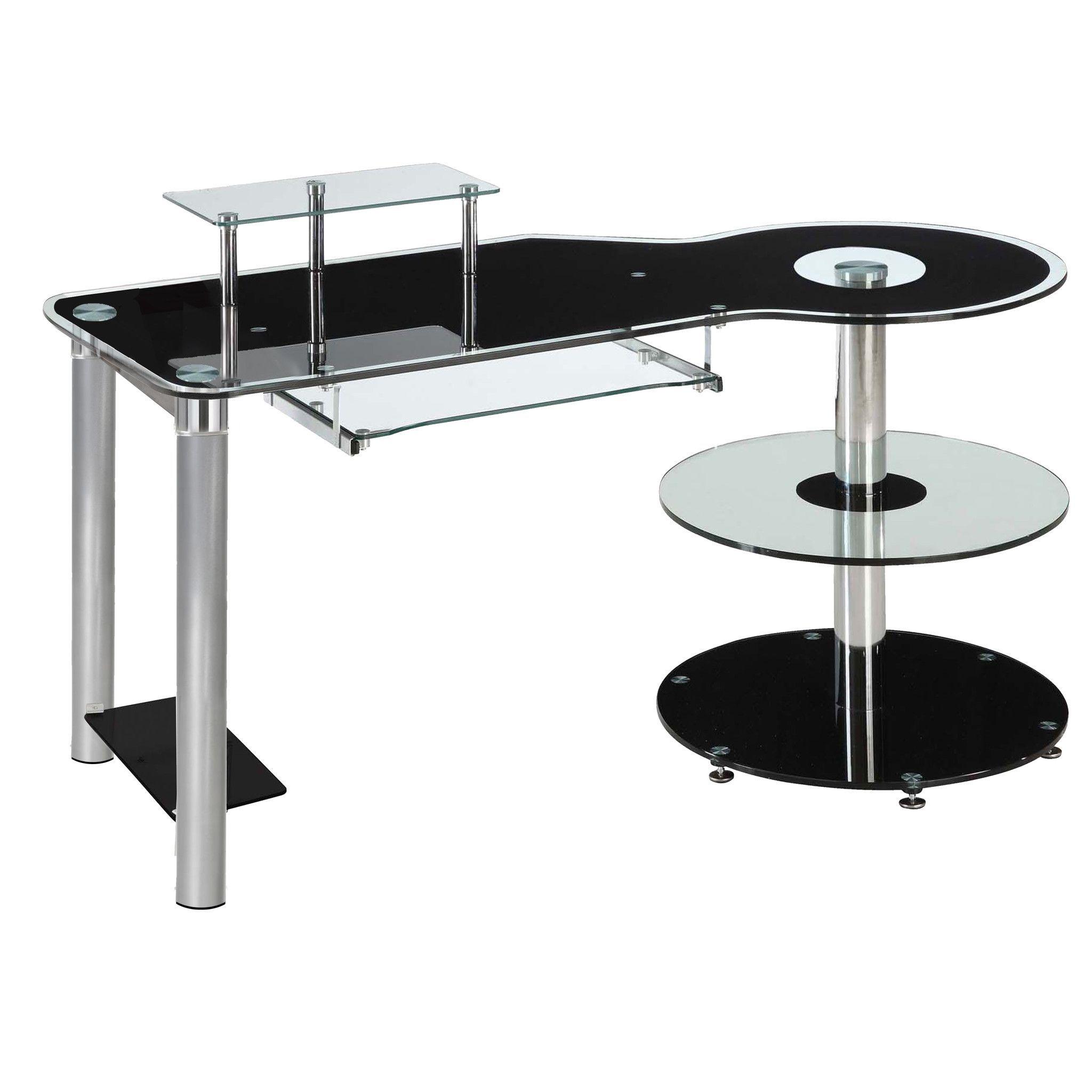 Black glass u chrome modern executive desk products pinterest