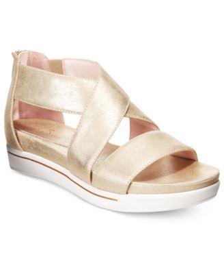 TR Taryn Rose Claudine Sandals $79.00 Sneaker meets sandal in these Claudine wedges from Taryn Rose with a unique, vulcanized platform and sleek, crisscross straps.