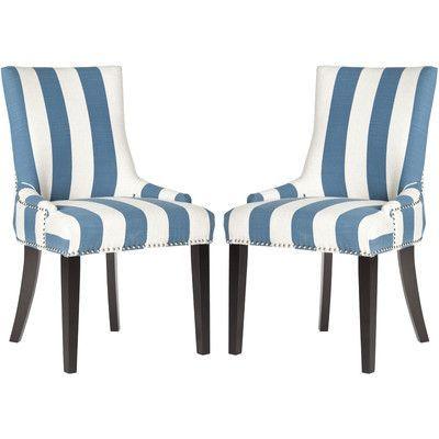 Beachcrest Home Gowanus Dining Chair Upholstery: Charcoal/White Stripe