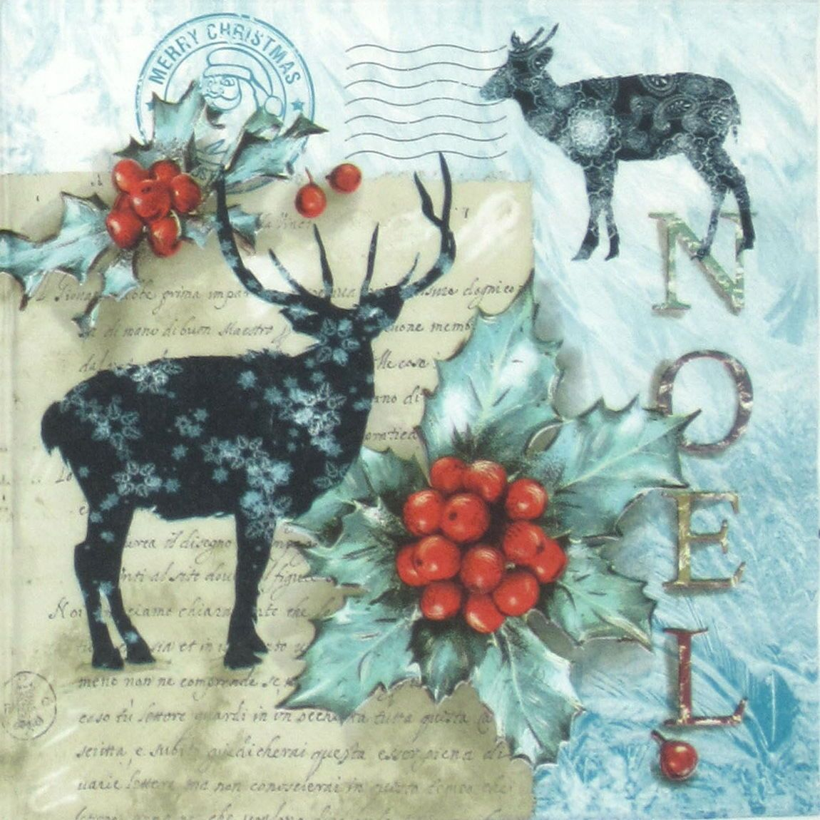 4x Paper Napkins for Decoupage Decopatch Craft Stags in Love