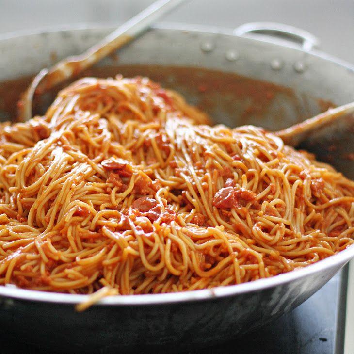 Filipino Spaghetti Recipe Main Dishes With Noodles Tomato Sauce Tomato Paste Minced Onion