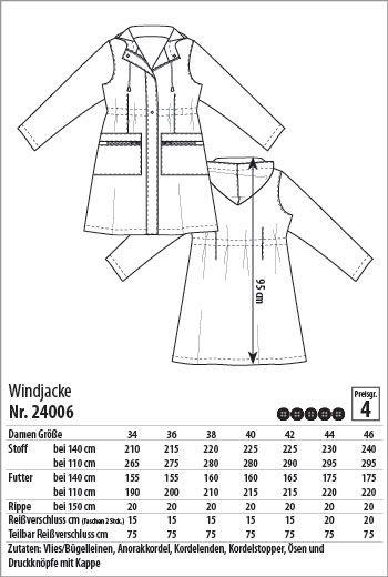 German web site many fabrics and patterns Windjacke - 24006 - Stoff & Stil