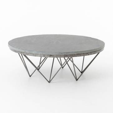 Modern Round Grey Slate Coffee Table With Geometric Metal Base
