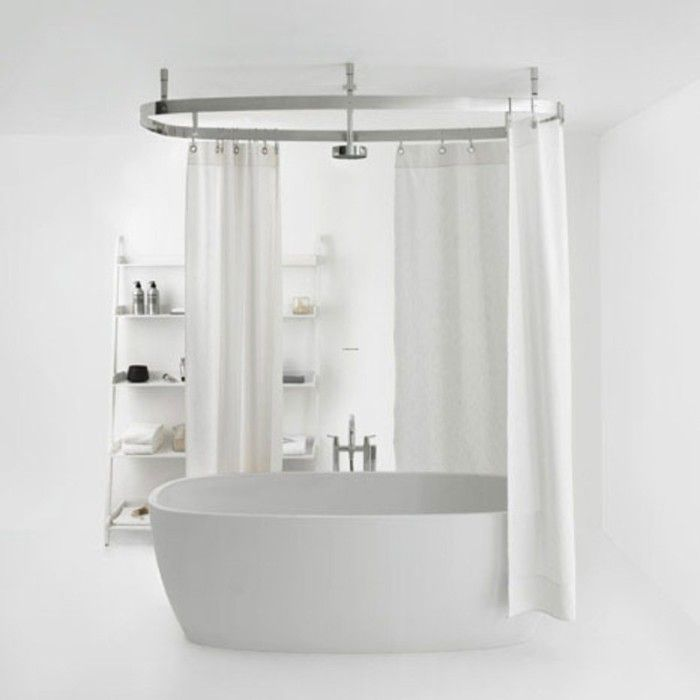 Now Just Install The Shower Curtain Rod Thru The Holes The Hoop Shower Curtain Rod Is Ideal For F Clawfoot Tub Bathroom Bathroom Shower Design Shower Remodel