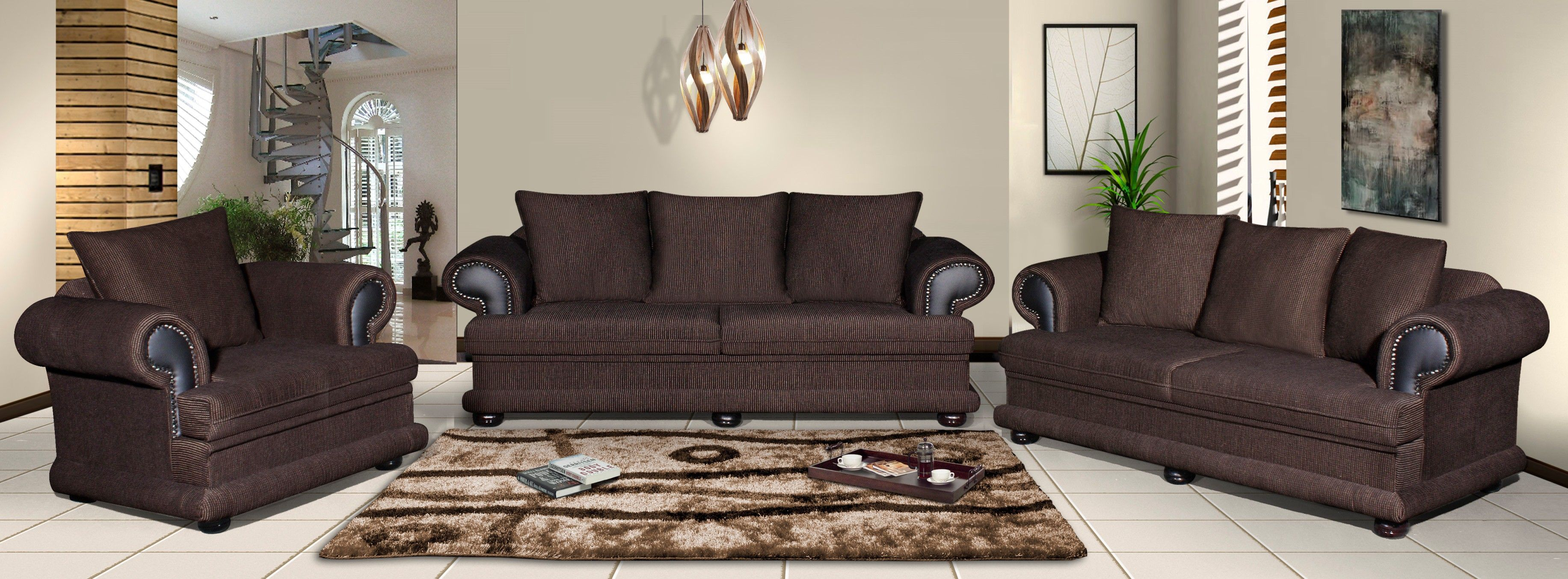 Sabatini 3pce L S Choc G In Suites Lounge Furniture