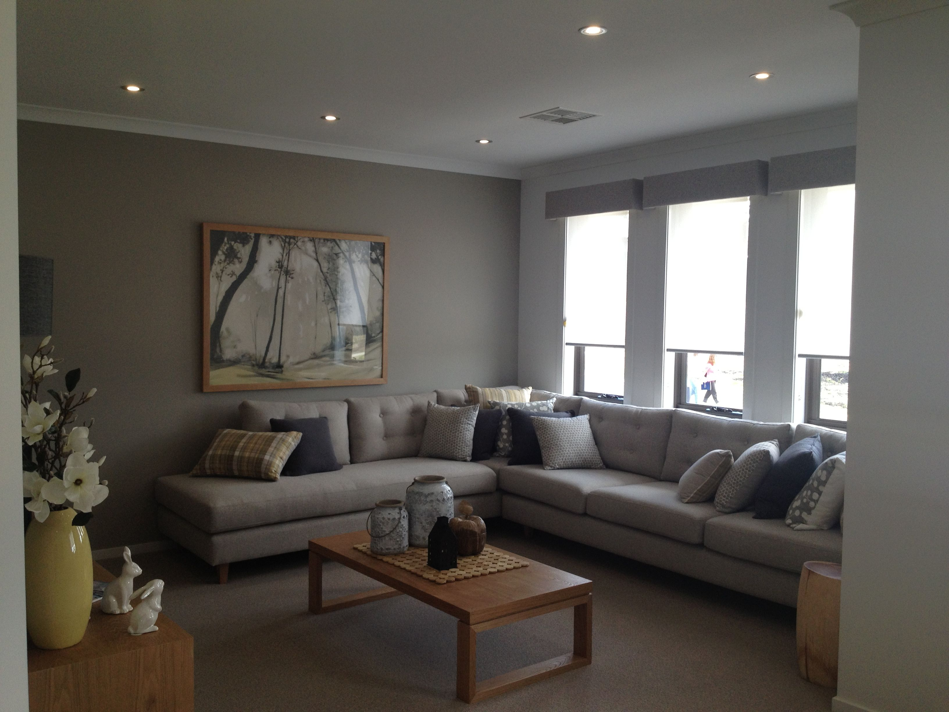 grey walls love this living room and all those comfy pillows
