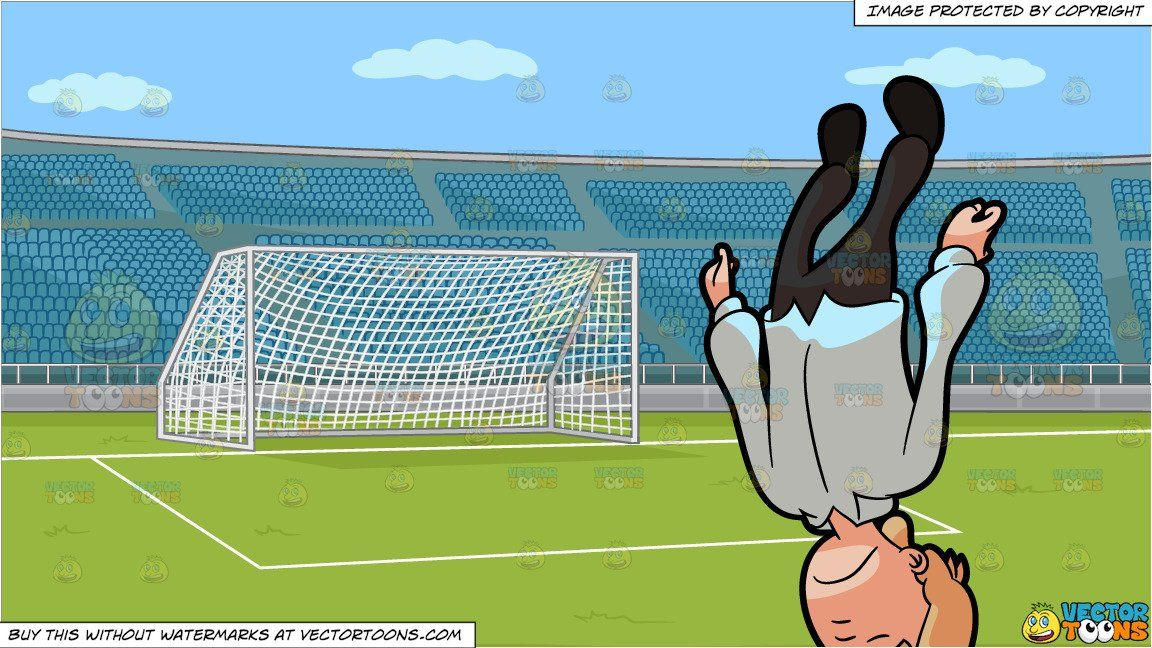 An Unconscious Man Falling Down Head First And A Soccer Field With Stadium Seating Background Soccer Field Falling Down Stadium