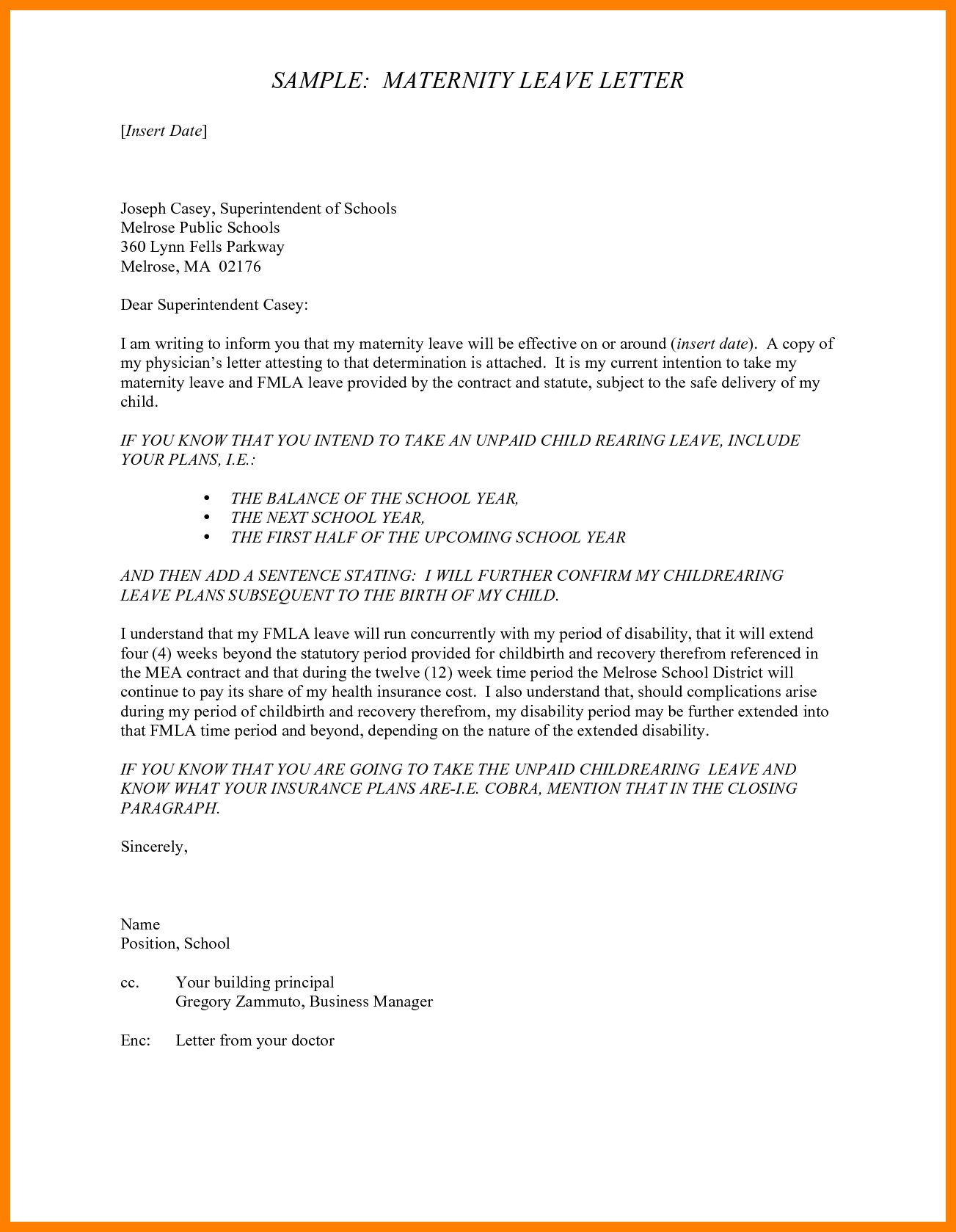 Leave Application Letter