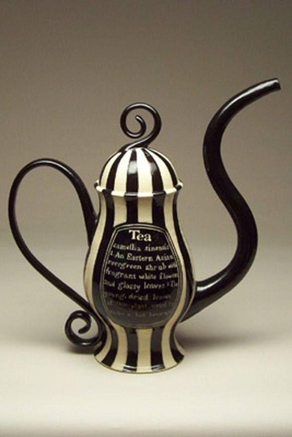 Black and White Hand Painted Tea Beth Turnbull Morrish of Turning Bull Pottery