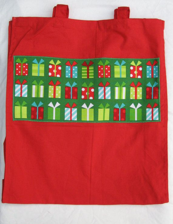 Red Christmas Shopping Tote various by LookingGlassDesigns1, £7.00