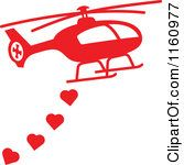 Red Helicopter with Valentine Hearts