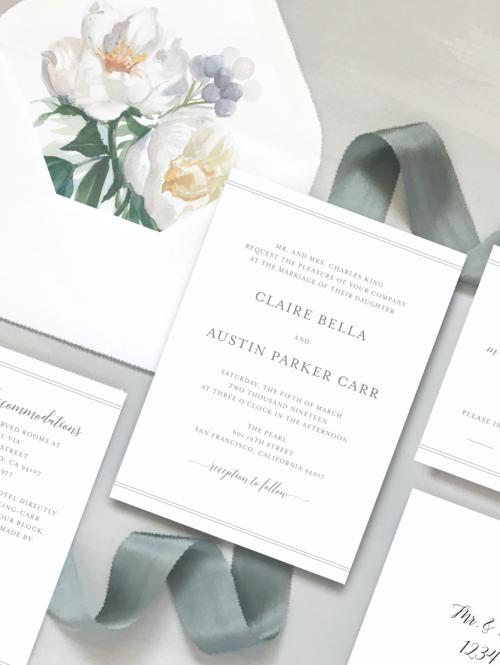 Classic White Floral Wedding Invitation Sample Kit Just Jurf Designs