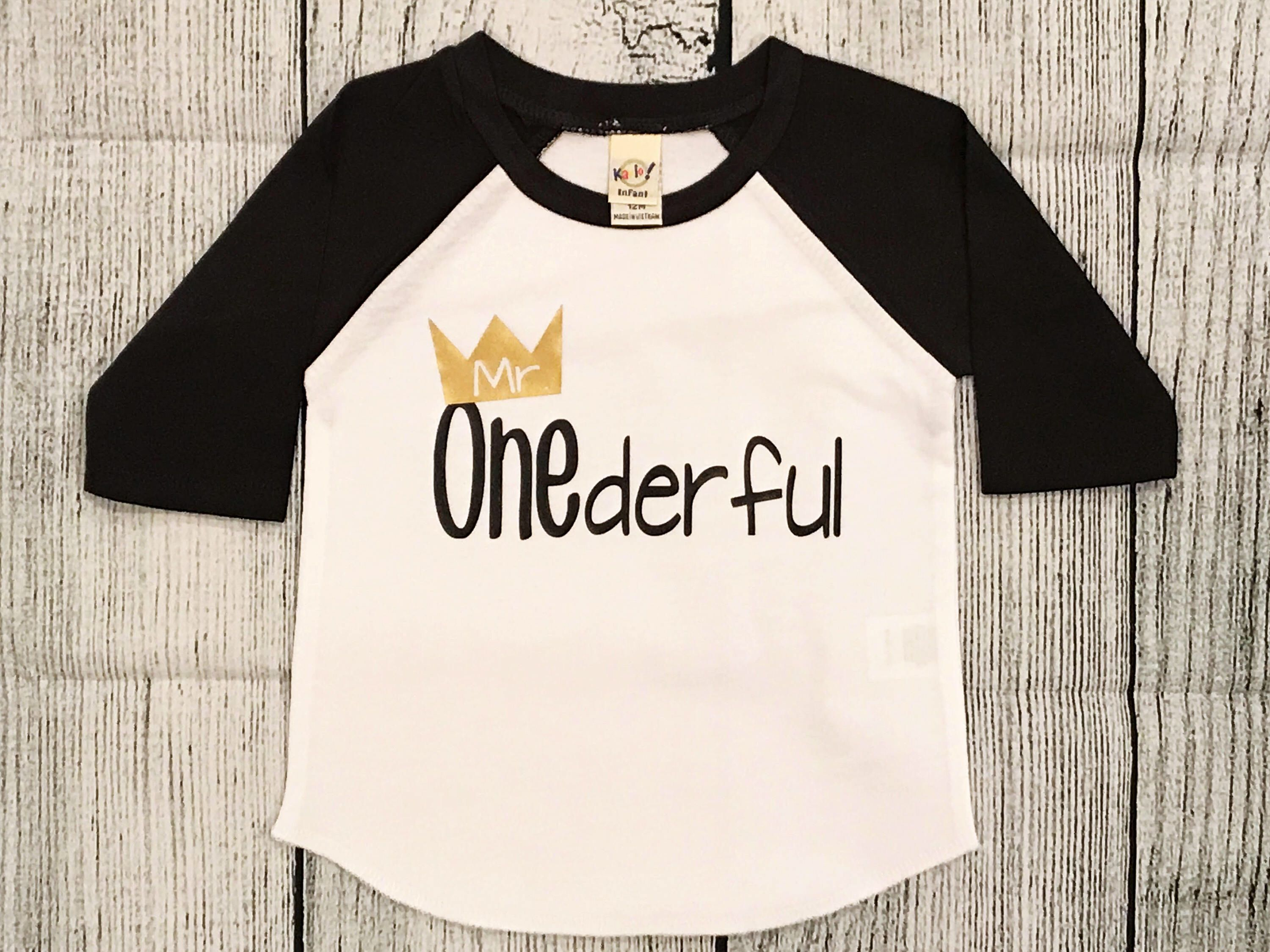 Boys Birthday Shirt 1st Mr Onederful Gift Raglan Tee Toddler T Shirts Boy