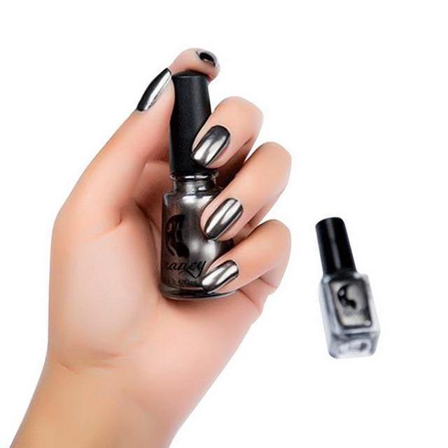 Metallic Silver Mirror Gel Nail Polish#BeautyBlog