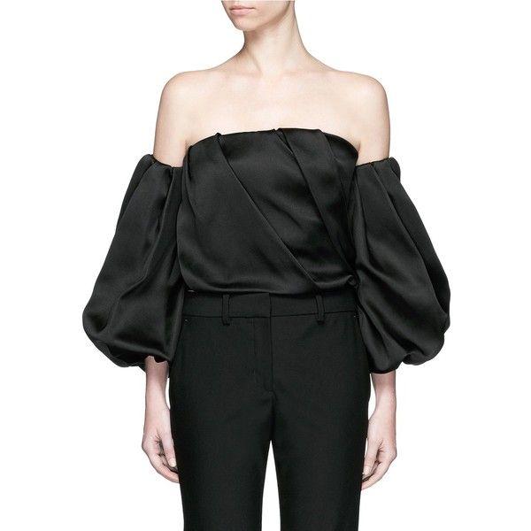 e3efc8ae667941 The Row  Amilli  balloon sleeve silk off-shoulder top ( 4